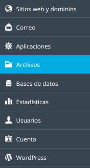 archivos administración de ficheros menu plesk