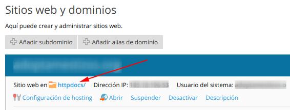 httpdocs en sitios web y dominios de plesk