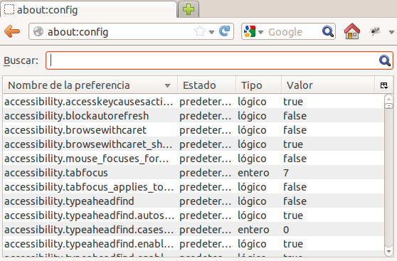 about config firefox