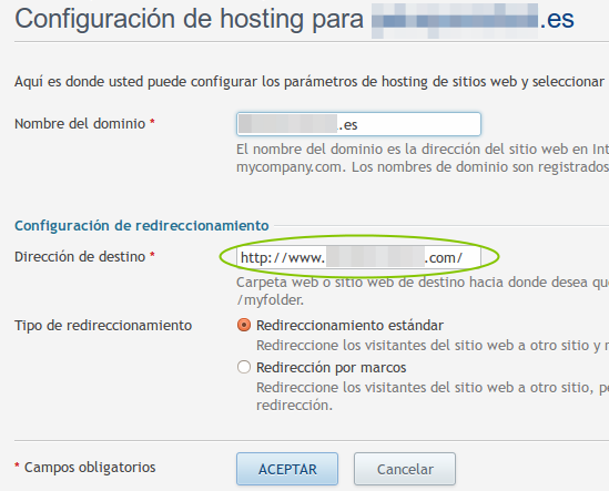 configurar redireccion de dominio en plesk