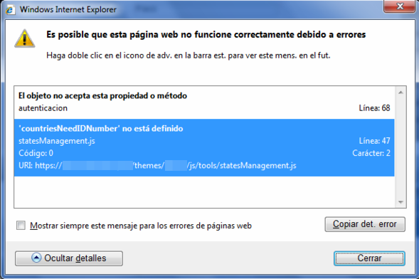 error prestashop ie select provincias