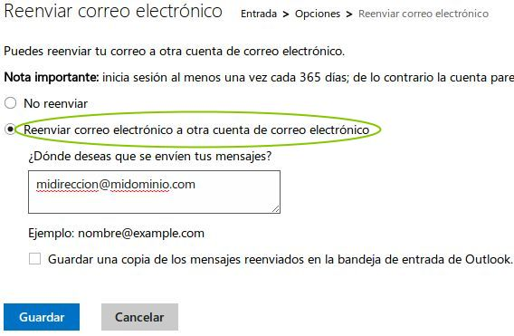 hotmail outlook reenviar correo electronico