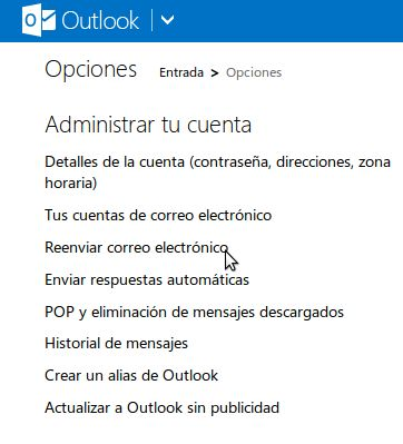 hotmail outlook reenviar correo