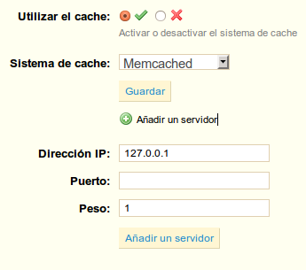 memcached ip puerto peso