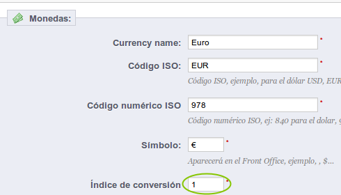 prestashop ingles moneda euro